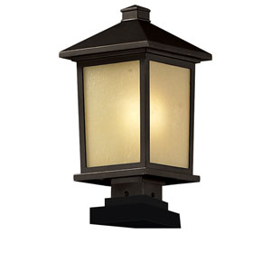 Holbrook One-Light Large Oil Rubbed Bronze Outdoor Pier Light with Tinted Seedy Glass Panels