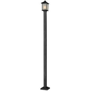 Holbrook One-Light Medium Black Outdoor Post Light with White Seedy Glass Panels