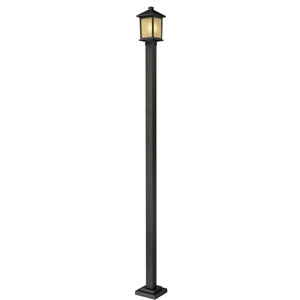 Holbrook One-Light Medium Oil Rubbed Bronze Outdoor Post Light with Tinted Seedy Glass Panels