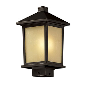 Holbrook One-Light Medium Oil Rubbed Bronze Outdoor Post Mount Light with Tinted Seedy Glass Panels