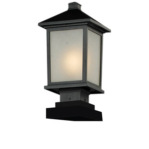 Holbrook One-Light Black Outdoor Pier Light with White Seedy Glass Panels