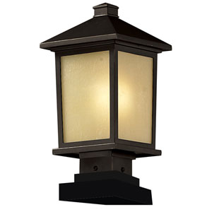 Holbrook One-Light Oil Rubbed Bronze Outdoor Pier Light with Tinted Seedy Glass Panels