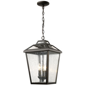 Bayland Oil Rubbed Bronze Three-Light Eleven-Inch Outdoor Pendant