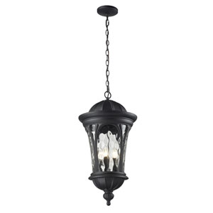 Doma Five-Light Black Outdoor Chain Pendant Light with Clear Waterglass