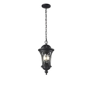 Doma Three-Light Black Outdoor Chain Pendant Light with Clear Waterglass