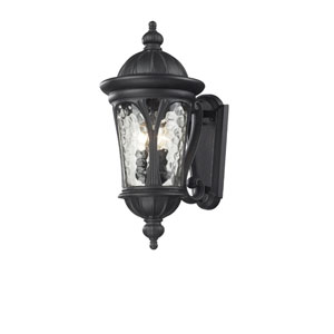 Doma Three-Light Black Outdoor Wall Mount with Clear Waterglass