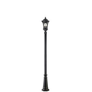 Doma Three-Light Large Black Outdoor Post Light with Clear Waterglass