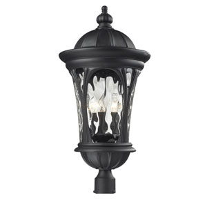 Doma Three-Light Black Outdoor Post Mount Light with Clear Waterglass
