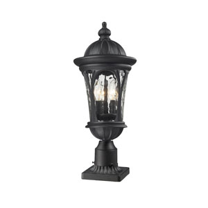 Doma Three-Light Black Outdoor Pier Mount with Clear Waterglass