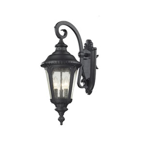 Medow Three-Light Black Outdoor Wall Mount with Clear Seedy Glass