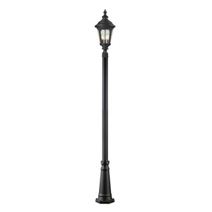 Medow Four-Light Black Outdoor Post Light with Clear Seedy Glass