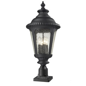 Medow Four-Light Black Outdoor Pier Mount with Clear Seedy Glass