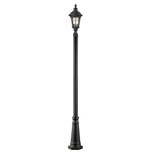 Medow Three-Light Black Outdoor Post Light with Clear Seedy Glass