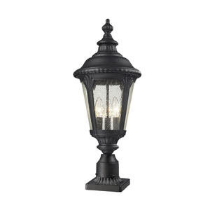 Medow Three-Light Black Outdoor Pier Mount with Clear Seedy Glass