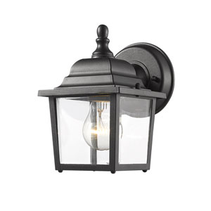 Waterdown Black 7-Inch One-Light LED Outdoor Wall Sconce with Clear Beveled Glass