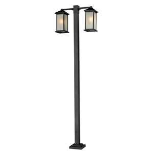 Vienna Two-Light Black Double-Head Outdoor Post Fixture with White Seedy Glass Panels