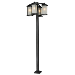 Vienna Four-Light Black Four-Head Outdoor Post Fixture with White Seedy Glass Panels