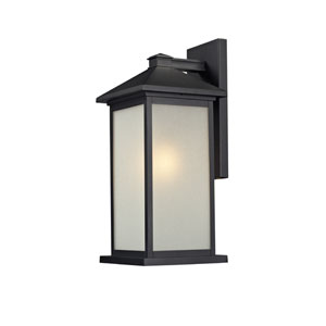 Vienna One-Light Large Black Outdoor Wall Mount with White Seedy Glass Panels