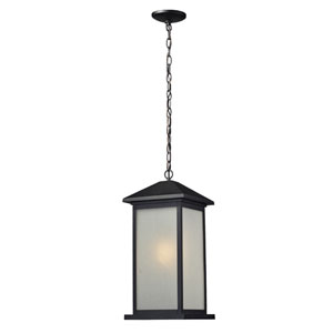 Vienna One-Light Large Black Outdoor Chain Pendant Light with White Seedy Glass Panels