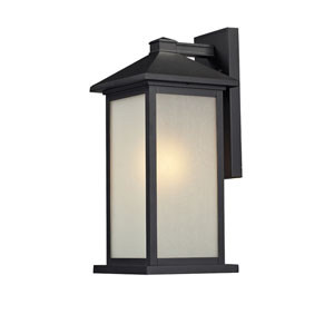 Vienna One-Light Medium Black Outdoor Wall Mount with White Seedy Glass Panels