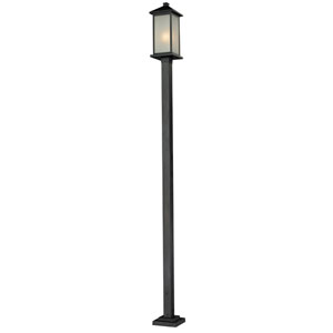 Vienna One-Light Large Black Outdoor Post Light with White Seedy Glass Panels