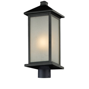 Vienna One-Light Black Outdoor Post Mount Light with White Seedy Glass Panels