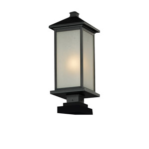 Vienna One-Light Black Outdoor Pier Mount with White Seedy Glass Panels