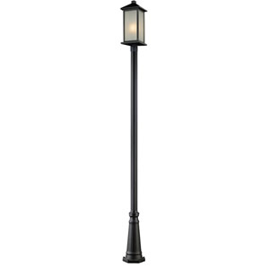 Vienna One-Light Black Outdoor Post Light with White Seedy Glass Panels