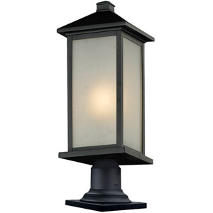 Vienna One-Light Large Black Outdoor Pier Mount with White Seedy Glass Panels