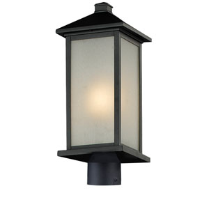 Vienna One-Light Medium Black Outdoor Post Head Light with White Seedy Glass Panels