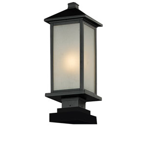 Vienna One-Light Medium Black Outdoor Pier Mount Fixture with White Seedy Glass Panels