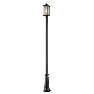 Vienna One-Light Black Outdoor Post Light Fixture with White Seedy Glass Panels