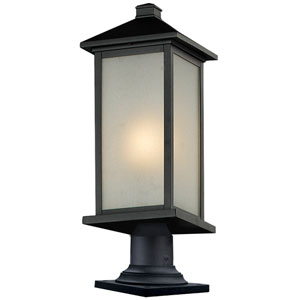 Vienna One-Light Medium Black Outdoor Pier Mount with White Seedy Glass Panels