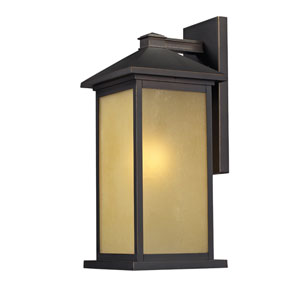 Vienna One-Light Oil Rubbed Bronze Outdoor Wall Mount with Tinted Seedy Glass Panels