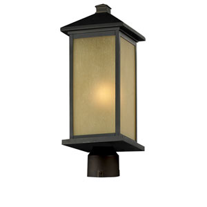 Vienna One-Light Large Oil Rubbed Bronze Outdoor Post Mount Light with Round Base and Tinted Seedy Glass Panels