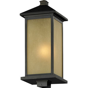 Vienna One-Light Large Oil Rubbed Bronze Outdoor Post Mount Light with Square Base and Tinted Seedy Glass Panels