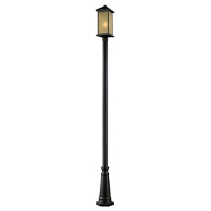 Vienna One-Light Large Oil Rubbed Bronze Outdoor Post Light with Tinted Seedy Glass Panels