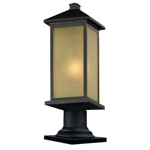 Vienna One-Light Large Oil Rubbed Bronze Outdoor Pier Light with Round Base and Tinted Seedy Glass Panels