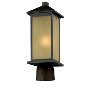 Vienna One-Light Oil Rubbed Bronze Outdoor Post Mount Light with Round Base and Tinted Seedy Glass Panels