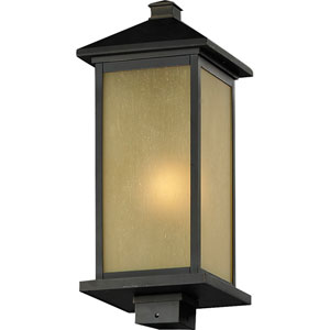 Vienna One-Light Oil Rubbed Bronze Outdoor Post Mount Light with Square Base and Tinted Seedy Glass Panels