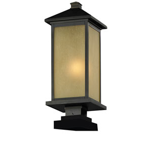 Vienna One-Light Oil Rubbed Bronze Outdoor Pier Light with Square-Base and Tinted Seedy Glass Panels