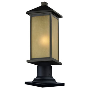 Vienna One-Light Oil Rubbed Bronze Outdoor Pier Light with Round Base and Tinted Seedy Glass Panels