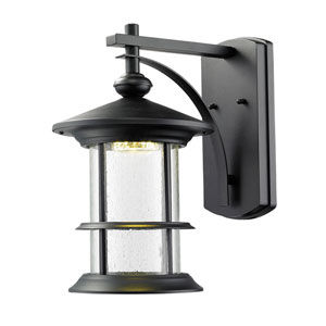Genesis Black 9.5-Inch One-Light LED Outdoor Wall Sconce with Clear Seedy Glass