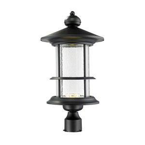 Genesis Black 11.5-Inch One-Light LED Post Lantern with Clear Seedy Glass