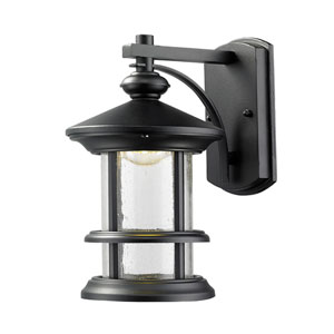Genesis Black 6-Inch One-Light LED Outdoor Wall Sconce with Clear Seedy Glass