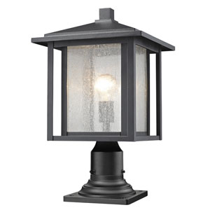 Aspen Black 18-Inch One-Light Outdoor Pier Mount Light with Clear Seedy Glass Shade