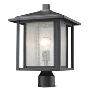 Aspen Black 16-Inch One-Light Outdoor Pier Mount Light with Clear Seedy Glass Shade