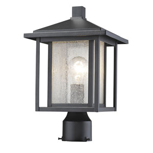 Aspen Black 15-Inch One-Light Outdoor Pier Mount Light with Clear Seedy Glass Shade