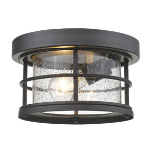 Exterior Additions Black 10-Inch One-Light Outdoor Ceiling Light with Clear Seedy Glass Shade