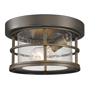 Exterior Additions Oil Rubbed Bronze 10-Inch One-Light Outdoor Ceiling Light with Clear Seedy Glass Shade